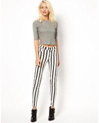 Just Female - Black Striped Skinny Jean - Lyst