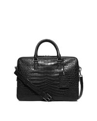 Michael Kors | Black Bryant Large Embossed-leather Briefcase for Men | Lyst