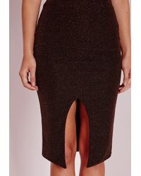 Missguided - Brown Wrap Front Glitter Midi Skirt Bronze - Lyst