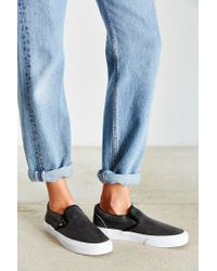 Vans - Black Cracked Leather Slip-on Shoe - Lyst