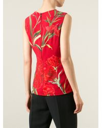 Dolce & Gabbana - Red Carnations Print Tank Top - Lyst