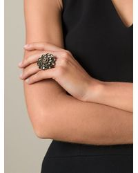Oscar de la Renta - Gray Large Crystal Ring - Lyst