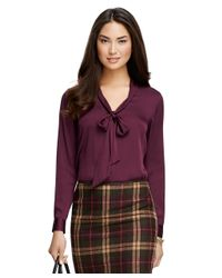 Brooks Brothers - Purple Bow-front Silk Blouse - Lyst