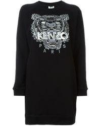 KENZO | Black 'tiger' Sweatshirt Dress | Lyst