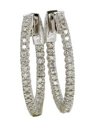 Lord & Taylor | Metallic 14 Kt White Gold And 2.0 Ct T W Diamond Hoop Earrings | Lyst