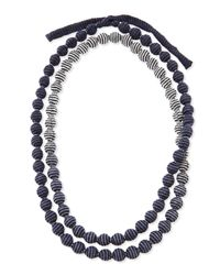 Eileen Fisher - Gray Mini Striped Beaded Necklace - Lyst