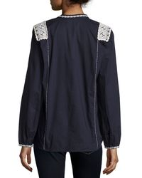 Figue - Blue Martine Long-sleeve Embroidered Top - Lyst
