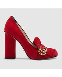 804f6c10f Gucci Suede Loafer Pumps in Red - Lyst