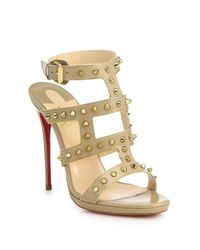 Christian Louboutin | Metallic Sexystrapi Studded & Chain-trimmed Leather Sandals | Lyst