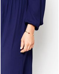 ASOS - Metallic Open Arrow Semi Precious Cuff Bracelet - Lyst