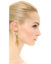 Ben-Amun | Metallic Star Asymmetrical Earrings - Clear/Gold | Lyst