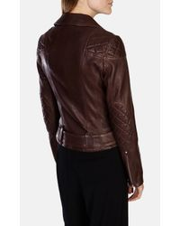 Karen Millen - Purple Signature Aubergine Leather Biker Jacket - Lyst