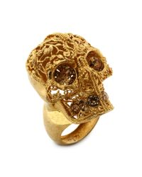 Alexander McQueen Metallic Skull Filigree Ring