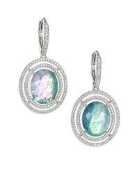 Adriana Orsini | Blue Abalone, Clear Quartz & Pavé Sterling Silver Doublet Drop Earrings | Lyst