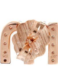 KC Designs | Pink Rose Gold Diamond M Single Stud Earring | Lyst