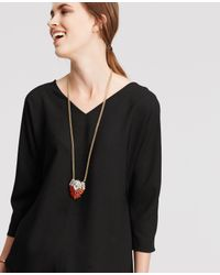 Ann Taylor | Metallic Crystal Plaque Pendant Necklace | Lyst