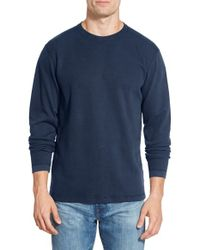 Agave | Blue 'silas' Long Sleeve Ribbed Crewneck T-shirt for Men | Lyst