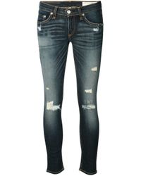 Rag & Bone - Blue Stone Washed Ripped Jeans - Lyst