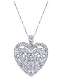 Macy's - Metallic Diamond Heart Pendant Necklace In Sterling Silver (1/2 Ct. T.w.) - Lyst