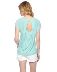 Splendid | Blue Pleated Open Back Slub Jersey Tee | Lyst