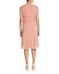Carolina Herrera - Pink Silk Chiffon Flutter-sleeve Dress - Lyst