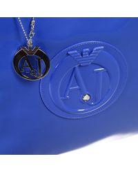 Armani Jeans - Blue Handbag Borsa Patent Shopping Grande - Lyst