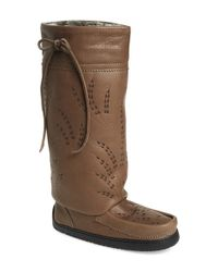 Manitobah Mukluks - Gray Tall Gatherer Leather Boots  - Lyst