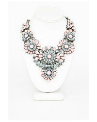 Missguided   Pink Ravenna Floral Gem Detail Statement Necklace Blush   Lyst