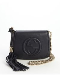 d248d905eae Lyst - Gucci Navy Soho Chain Shoulder Strap Bag in Blue