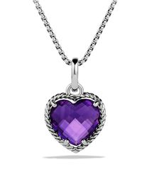 David Yurman | Metallic Cable Heart Pendant With Amethyst | Lyst