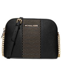 Michael Kors | Black Michael Cindy Stud Large Dome Crossbody | Lyst