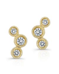 Anne Sisteron | Metallic 14kt Yellow Gold Bezel Set Diamond Hazel Earrings | Lyst