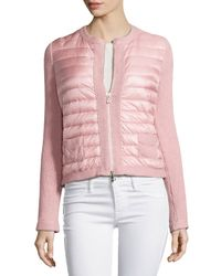 Moncler - Pink Zip-Front Quilted Cardigan - Lyst