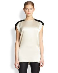 Helmut Lang - White Gravel Stretch Silk Long Top - Lyst