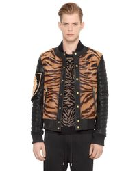 Balmain | Natural Tiger Ponyskin & Leather Bomber Jacket for Men | Lyst