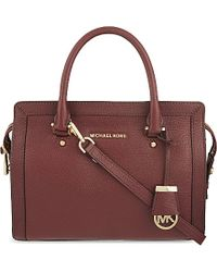 MICHAEL Michael Kors - Brown Collins Medium Soft Leather Tote, Women's, Merlot - Lyst