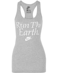 Nike - Gray Run The Earth Cotton-Jersey Tank - Lyst