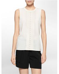 Calvin Klein | Natural Crochet Center Pleat Sleeveless Top | Lyst