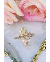 Elizabeth Stone - Pave Triangle Ring - Pink Opal - Lyst