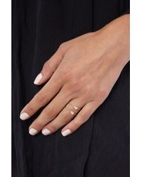 JEWEL CULT - Metallic Tiny Double Crystal Teardrop Ring - Lyst