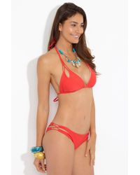 Luli Fama - Multicolor Reversible Zig Zag Knotted Cut Out Triangle Bikini Top - Girl On Fire - Lyst