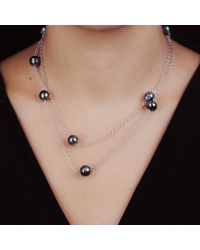 Black.co.uk - Multicolor Ophelia Tahitian Black Pearl Infinity Necklace - Lyst