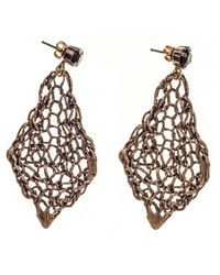 Black.co.uk | Brown Vela Bronze And Agate Earrings | Lyst