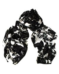 Black.co.uk - Medici Black And White Silk Scarf - Lyst