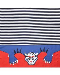 Black.co.uk - Red, White And Blue Tiger Print Silk Scarf - Lyst
