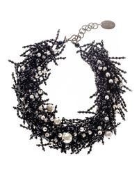 Black.co.uk   Black Onyx And Fresh Water Pearl Bib Necklace   Lyst