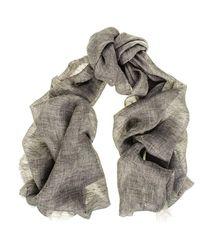 Black.co.uk - Gray Smoky Grey Melange Linen Scarf - Lyst