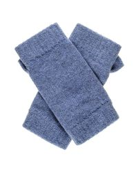 Black.co.uk - Denim Blue Fingerless Cashmere Mittens - Lyst