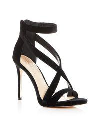 Imagine Vince Camuto - Black Women's Devin Velvet Crisscross High-heel Sandals - Lyst