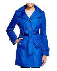 CALVIN KLEIN 205W39NYC - Blue Hooded Belted Trench Coat - Lyst